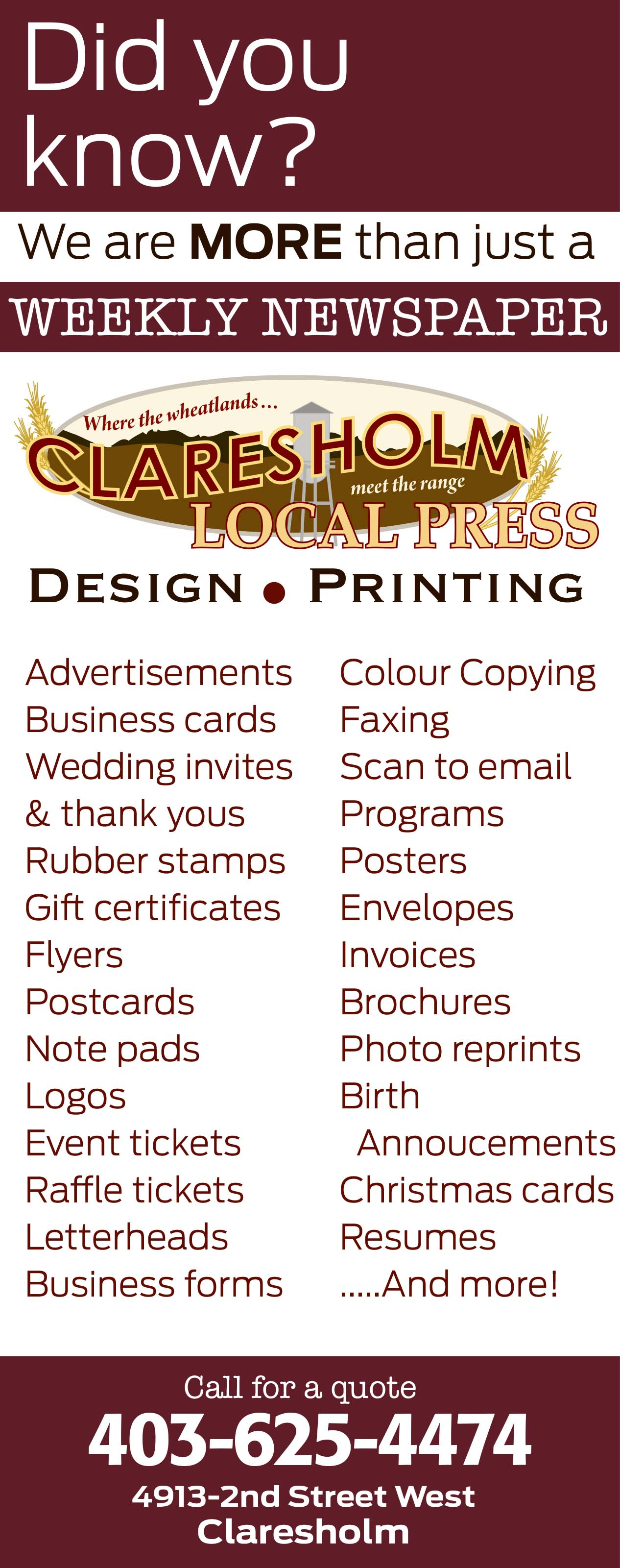 Printing Services | Claresholm Local Press