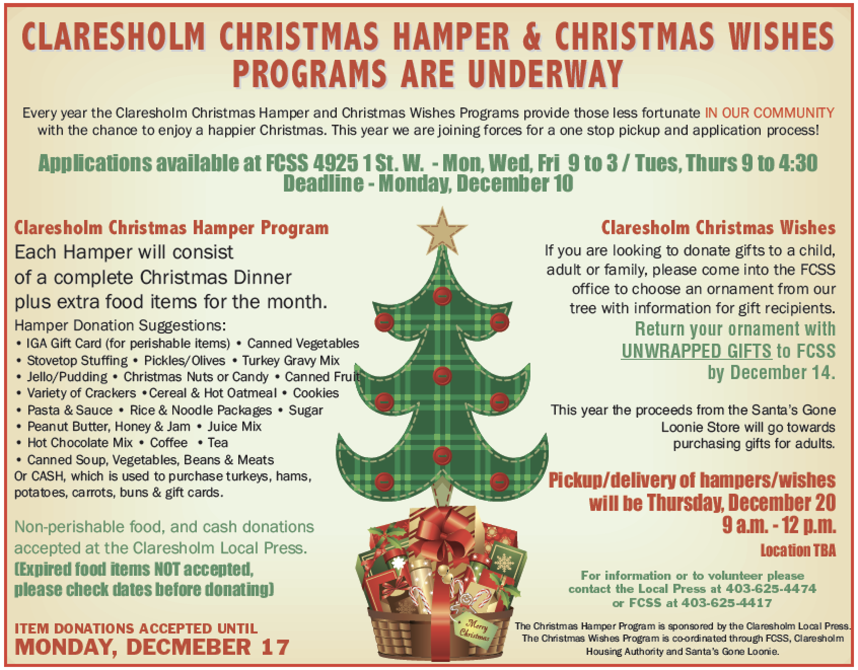christmas hamper program back with some changes this year claresholm local press